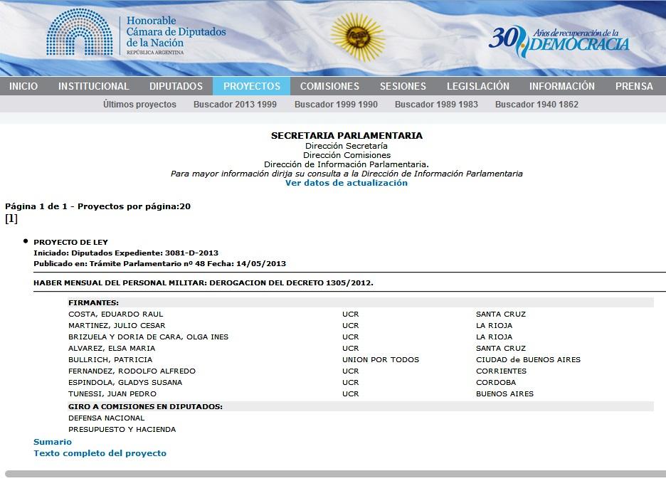 Caratula Expte Proy Ley Haberes HCDN